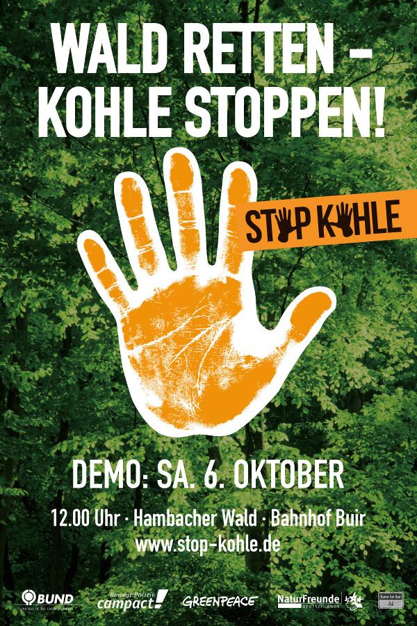 """Demonstration """"Wald retten - Kohle stoppen"""" im Hambacher Forst @ Bahnhof Buir, bei Köln"""
